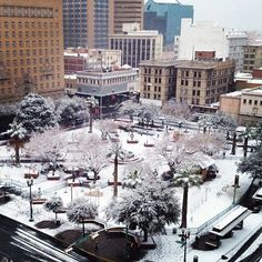 Snowing in San Jancinto Plaza in El Paso, Texas...yes, it does snow in the desert.