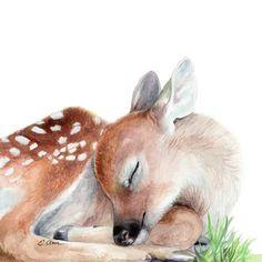 Woodland Animal Nursery, Woodland Animals, Woodland Baby, Watercolor Deer, Watercolor Animals, Watercolor Paintings, Nursery Art, Nursery Decor, Deer Nursery
