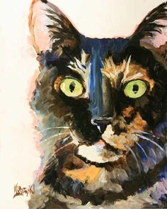 Another inspiration painting. Tortie Cat Art Print of Original Acrylic Painting by dogartstudio, Watercolor Cat, Watercolor Paintings, Gato Calico, Calico Cats, Cat Sketch, Cat Art Print, Guache, Cat Drawing, Dog Art