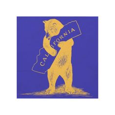 I Love You California--Blue and Gold Wood Wall Art