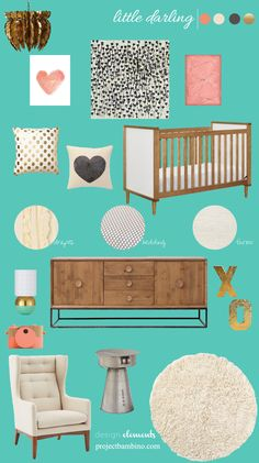 turquoise and pink girl nursery