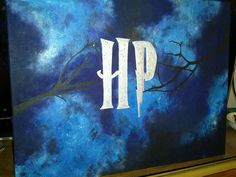 Silver HP logo on blue smoke, black background, and tree branches- made for my best friend who adores Harry Potter. Hopefully we can get an awesome frame for it (harry potter bedroom harry potter painting harry potter fan art harry potter artwork harry potter arts and crafts)