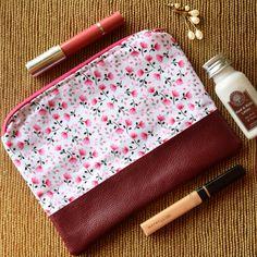 Pink floral makeup purse
