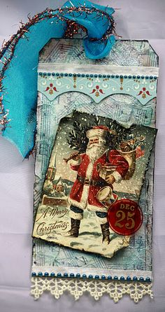 Vintage Santa tag - turquoise/red  really like these colours