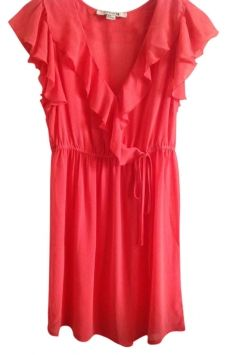 Forever 21 Dress Summer Forvere21 Coral Ruffles $24 mother of the bride