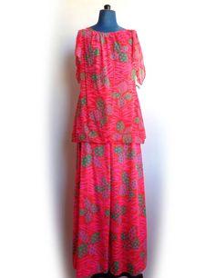 1960s Pajamas Pink Palazzo Psychedelic