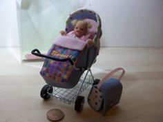 b'ful OOAK baby girl + rear facing buggy/pram *candy crush*  1/12, dolls house