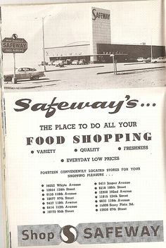 Safeway ad from Vintage Stores, Vintage Ads, Vintage Posters, Vintage Photos, Old Advertisements, Retro Advertising, Retro Ads, Life In The 1950s, New Orleans History