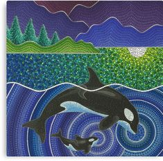 'Orca Sonic Love' Canvas Print by Elspeth McLean Mandala Art, Mandala Painting, Dot Art Painting, Rock Painting Designs, Stone Painting, Love Canvas, Canvas Art, Canvas Prints, Art Prints