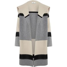 Vince Grey Colourblocked Shawl Car Coat found on Polyvore featuring outerwear, coats, drape coat, long sleeve coat, colorblock coat, car coat and gray coat