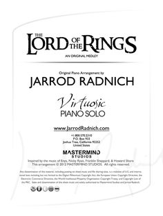 The Lord of the Rings medley - Virtuosic Piano Solo Sheet Music (DOWNLOAD ITEM)