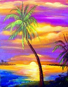 Key West Sunset Prints by Artist Janis Stevens Key West Sunset, Wine And Canvas, Tropical Art, Tropical Paintings, Beach Art, Pictures To Paint, Love Art, Painting Inspiration, Painting & Drawing