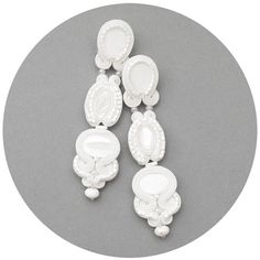 Very long stud all white jewelry wedding earrings by MANJApl, $62.00