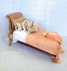 Bed Bespaq Dressed in Shades of Peach by by PatTylerMiniatures