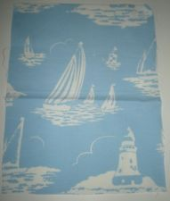 Cath Kidston fabric remnant sailing boat light house blue and white