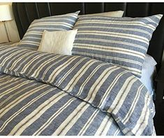 Bring stripes into bedding with this striped duvet cover set. This linen bedding is oversized for a luxurious feel as you snuggle in for the night or wrap yourself up in front of a movie. The varying widths and varying shades of navy blue, antique white give the duvet cover a distinctive nautical look that … #LuxuryBeddingNavy