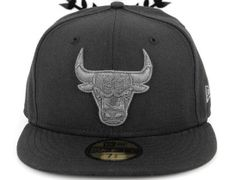 promo code eb0eb 3acdc Charcoal Chicago Bulls Fitted Cap by NEW ERA x NBA