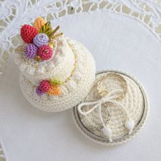 Wedding Ring Pillows Bearers Set of 2 Crochet Ivory Heart Bearers