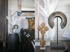 On the bedside table, in front of the Swazi-botanical, the Hunter-Gatherer has placed an Ethiopian cross, Congo anklet and a brass Indian lamp. African Style, African Art, African Fashion, Indian Lamps, Hunter Gatherer, British Colonial, Congo, Twists, Anklet