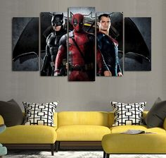Style Your Home Today With This Amazing 5 Piece Multi Panel Framed Batman Superman Deadpool Wall Canvas Art For $30.00  Discover more canvas selection here http://www.octotreasures.com  If you want to create a customized canvas by printing your own pictures or photos, please contact us.