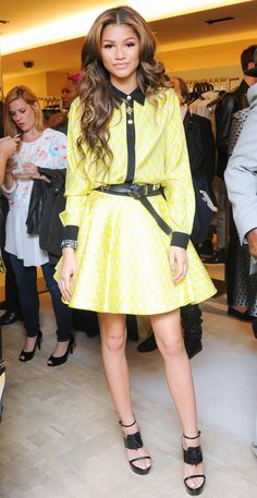 Coleman's breakout role was playing Rocky Blue in Disney's Shake It Up!, starring alongside Bella Thorne. On Coleman: Fausto Puglisi yellow and white silk blouse and high-waisted...