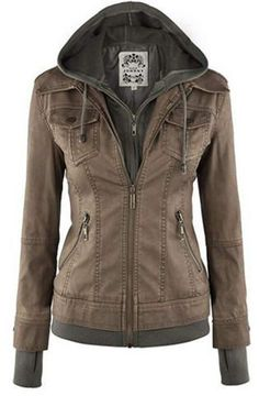 Looking for Made By Johnny Made By Johnny MBJ Womens Faux Leather Motorcycle Jacket Hoodie ? Check out our picks for the Made By Johnny Made By Johnny MBJ Womens Faux Leather Motorcycle Jacket Hoodie from the popular stores - all in one. Cardigan Fashion, Denim Fashion, Look Fashion, Fashion Women, Feminine Fashion, Leather Fashion, Fashion Teens, Sporty Fashion, Ski Fashion