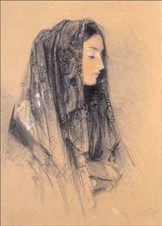 Head of a Spanish Girl Wearing a Mantilla, ca. 1838 Red and black chalks and Indian ink with watercolors and bodycolors on buff board 23.4 x...