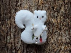 Squirrel Ornament Felt Gray Squirrel Felt Animal Ornament