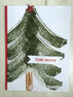 Stampin Up Work of Art Christmas card - Christmas tree. #stampinup