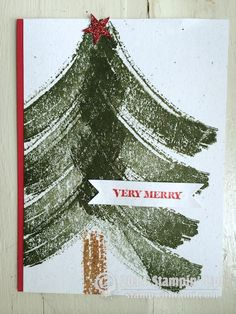 Stampin Up Work of Art Christmas card - Christmas tree. #stampinup