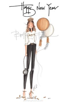 2018 | NYE | New Year's Eve | resolutions | fashion illustration | custom illustration | Brittany Fuson