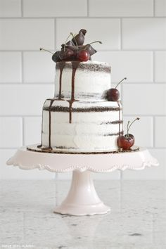 naked chocolate cake with contreau and cherries ~ we ❤ this! moncheribridals.com #nakedweddingcake