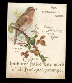 R88 - VICTORIAN RELIGIOUS MOTTO XMAS CARD - BIRD - SCRIPTURE - BIBLE QUOTE