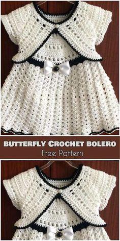 Butterfly Crochet Bolero for Babies and Kids [Free Pattern]