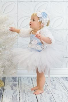 Winter Toddler Snow Princess Tutu Set Pageant Wear