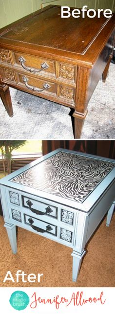 Zebra Turquoise Furniture Makeover with decoupaged animal print table top | Magic Brush | Furniture Before and After