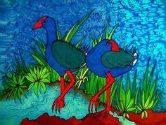 Pukeko New Zealand Art, Nz Art, Diy Cushion, Rug Hooking Patterns, Maori Art, Pom Pom Crafts, Kiwiana, Pebble Painting, Glass Birds