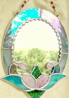 Stained glass mirror oval mirror bathroom decor by ClearerImage, $25.00