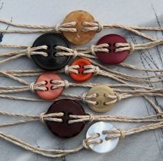 Button bracelets---I have a ton of leftover buttons and jute laying around!