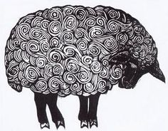 Sheep by Mary Azarian I chose this sheep because i like the line quality that is involved with the swirls that make up the sheeps body. I enjoy the no realistic quality of this sheep.