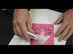 Memory Box Ombre Glitter Heart Card  love that he used packing tape and not yet another expensive adhesive :-)
