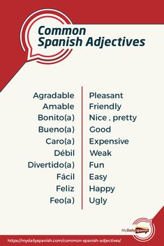 100 Most Common Spanish Adjectives Learn Spanish Free, Spanish Lessons For Kids, Learning Spanish For Kids, Learn To Speak Spanish, Learn Spanish Online, Spanish Language Learning, Learn A New Language, Teaching Spanish, Spanish Activities