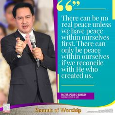 """""""There can be no real peace unless we have peace within ourselves first. There can only be peace within ourselves if we reconcile with He who created us. Son Of God, Apollo, Worship, Jesus Christ, Sons, Peace, Youtube, Pastor, My Son"""