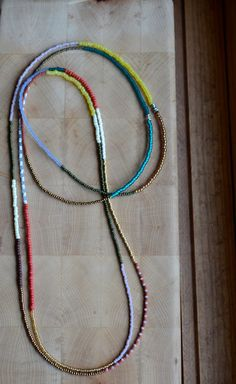 Long tribal seed bead necklaces set of two layer by copperandbeige