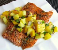 CANNOT wait to try this-- Grilled Blackened Salmon with Pineapple Mango Salsa