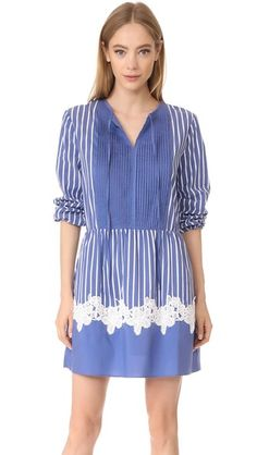 ENGLISH FACTORY Stripe Dress With Lace $98