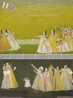 Ladies on a terrace, kite fighting Mughal Paintings, Indian Paintings, Indian Traditional Paintings, Traditional Art, Indian Artwork, Historical Women, India Art, London Art, Look At You