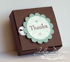 Julie's Stamping Spot -- Stampin' Up! Project Ideas Posted Daily: Tiny Tag Box