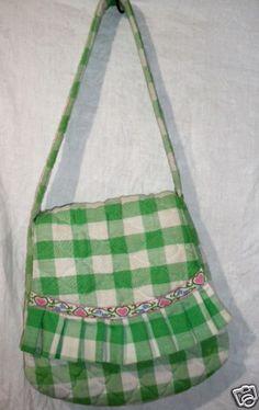 CARPETBAGS of AMERICA Handbag VTG Hippy Bag Green Cloth