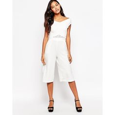 Liquorish Culotte Jumpsuit with Lace Insert ($48) ❤ liked on Polyvore featuring jumpsuits, white, tall jumpsuits, white jumpsuit, jump suit and white jump suit